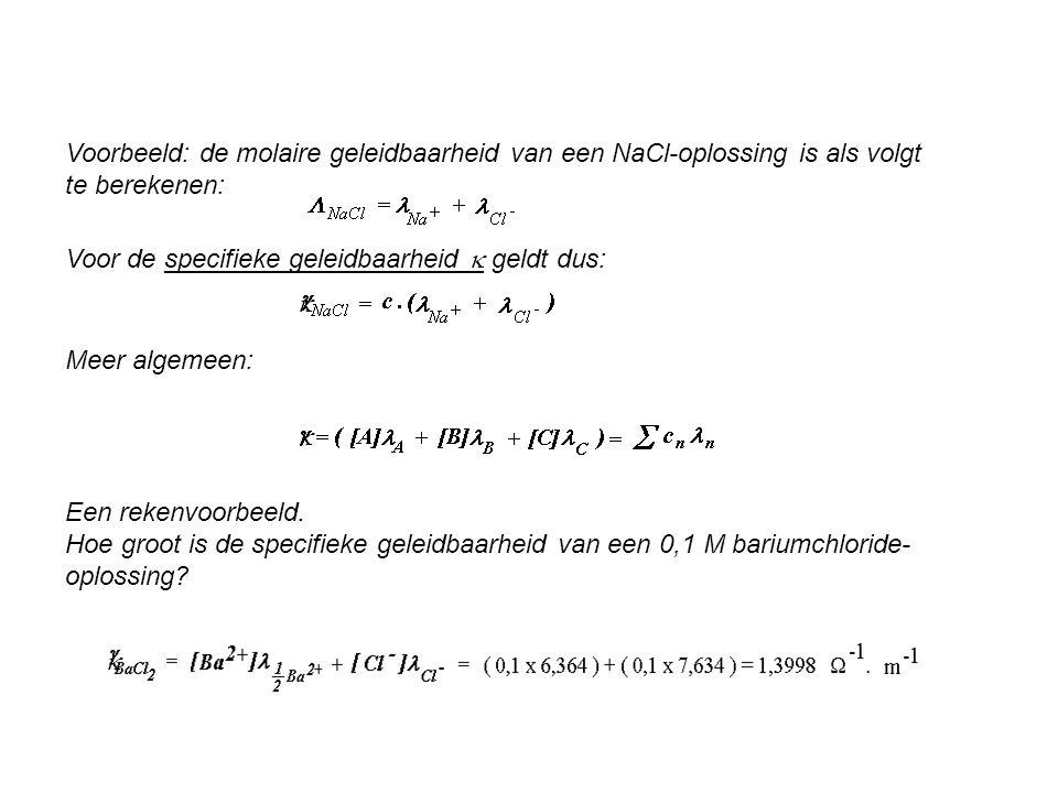 Voorbeeld: de molaire geleidbaarheid van een NaCl-oplossing is als volgt te berekenen: Voor de specifieke geleidbaarheid  geldt dus: Meer algemeen: 