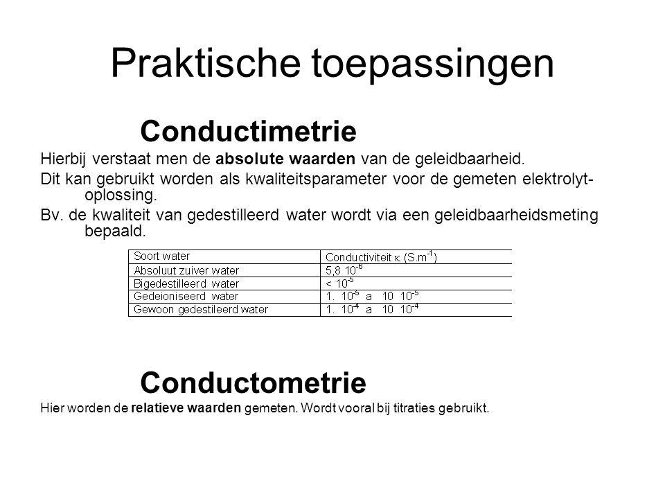 Praktische toepassingen Conductimetrie Hierbij verstaat men de absolute waarden van de geleidbaarheid. Dit kan gebruikt worden als kwaliteitsparameter