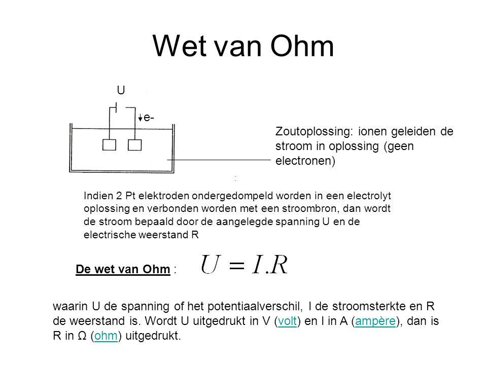 Wet van Ohm Zoutoplossing: ionen geleiden de stroom in oplossing (geen electronen) U e- Indien 2 Pt elektroden ondergedompeld worden in een electrolyt