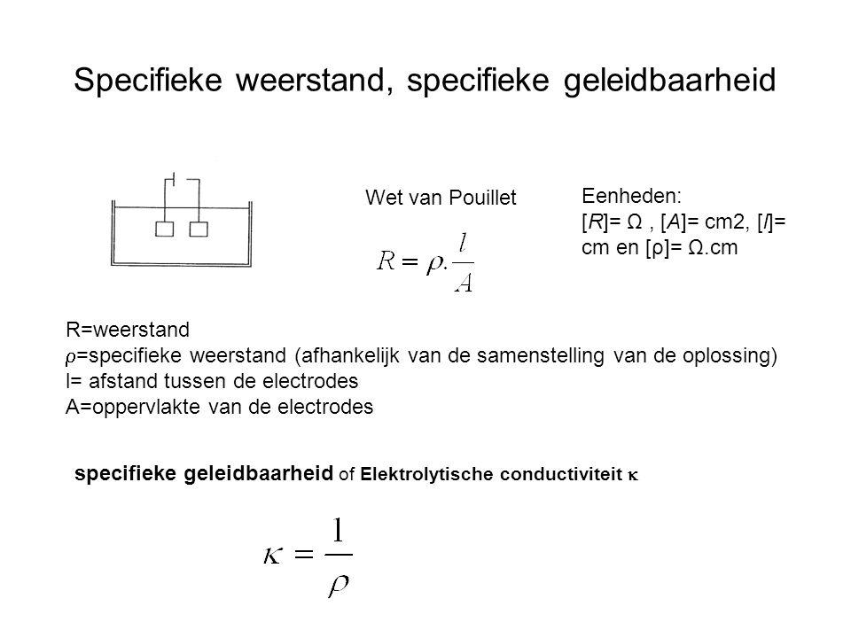 Specifieke weerstand, specifieke geleidbaarheid Wet van Pouillet R=weerstand  =specifieke weerstand (afhankelijk van de samenstelling van de oplossin
