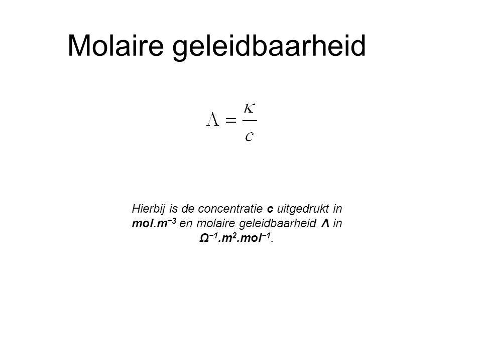 Molaire geleidbaarheid Hierbij is de concentratie c uitgedrukt in mol.m −3 en molaire geleidbaarheid Λ in Ω −1.m 2.mol −1.