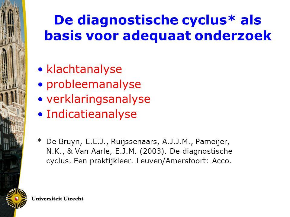 De diagnostische cyclus* als basis voor adequaat onderzoek •klachtanalyse •probleemanalyse •verklaringsanalyse •Indicatieanalyse *De Bruyn, E.E.J., Ru