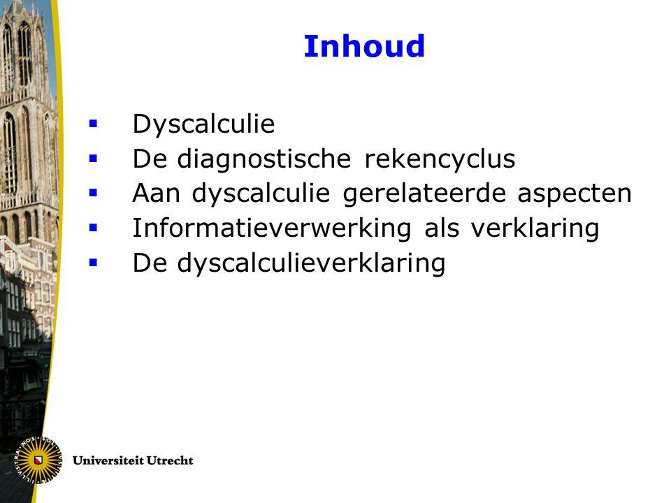Inhoud  Dyscalculie  De diagnostische rekencyclus  Aan dyscalculie gerelateerde aspecten  Informatieverwerking als verklaring  De dyscalculieverk