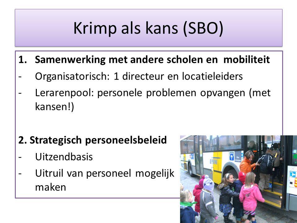 Krimp als kans (SBO) 1.Samenwerking met andere scholen en mobiliteit -Organisatorisch: 1 directeur en locatieleiders -Lerarenpool: personele problemen opvangen (met kansen!) 2.