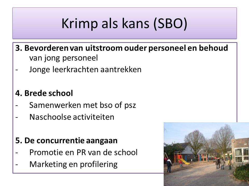 Krimp als kans (SBO) 3. Bevorderen van uitstroom ouder personeel en behoud van jong personeel -Jonge leerkrachten aantrekken 4. Brede school -Samenwer