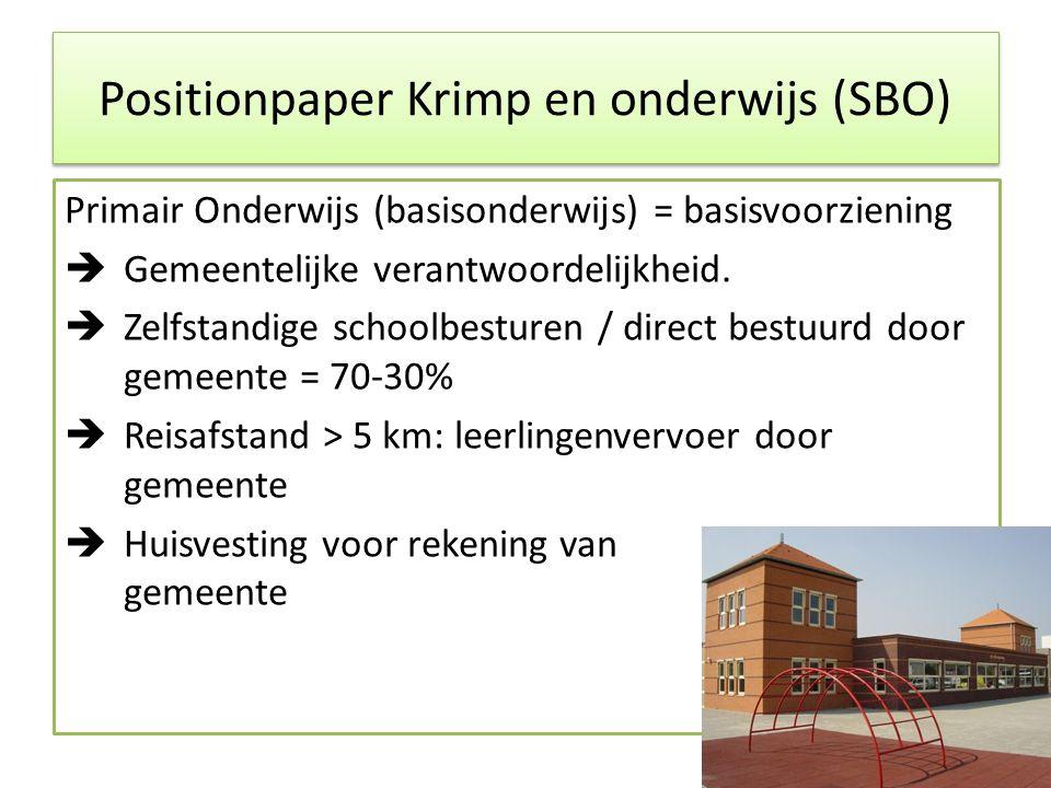 Positionpaper Krimp en onderwijs (SBO) Primair Onderwijs (basisonderwijs) = basisvoorziening  Gemeentelijke verantwoordelijkheid.  Zelfstandige scho