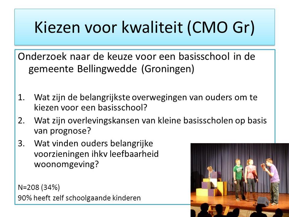 Kiezen voor kwaliteit (CMO Gr) Onderzoek naar de keuze voor een basisschool in de gemeente Bellingwedde (Groningen) 1.Wat zijn de belangrijkste overwegingen van ouders om te kiezen voor een basisschool.