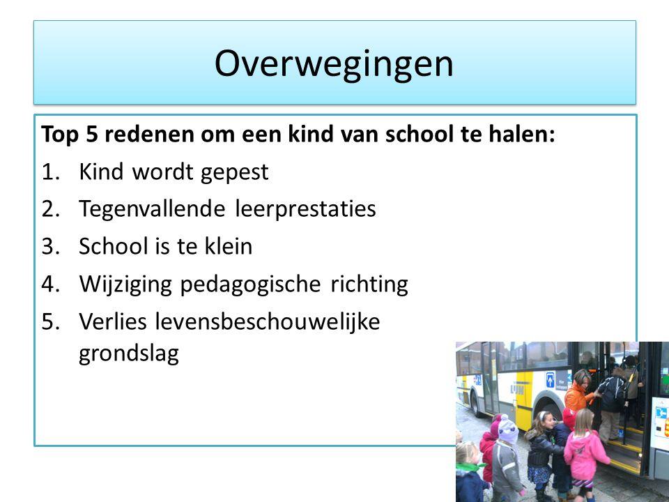 Overwegingen Top 5 redenen om een kind van school te halen: 1.Kind wordt gepest 2.Tegenvallende leerprestaties 3.School is te klein 4.Wijziging pedago