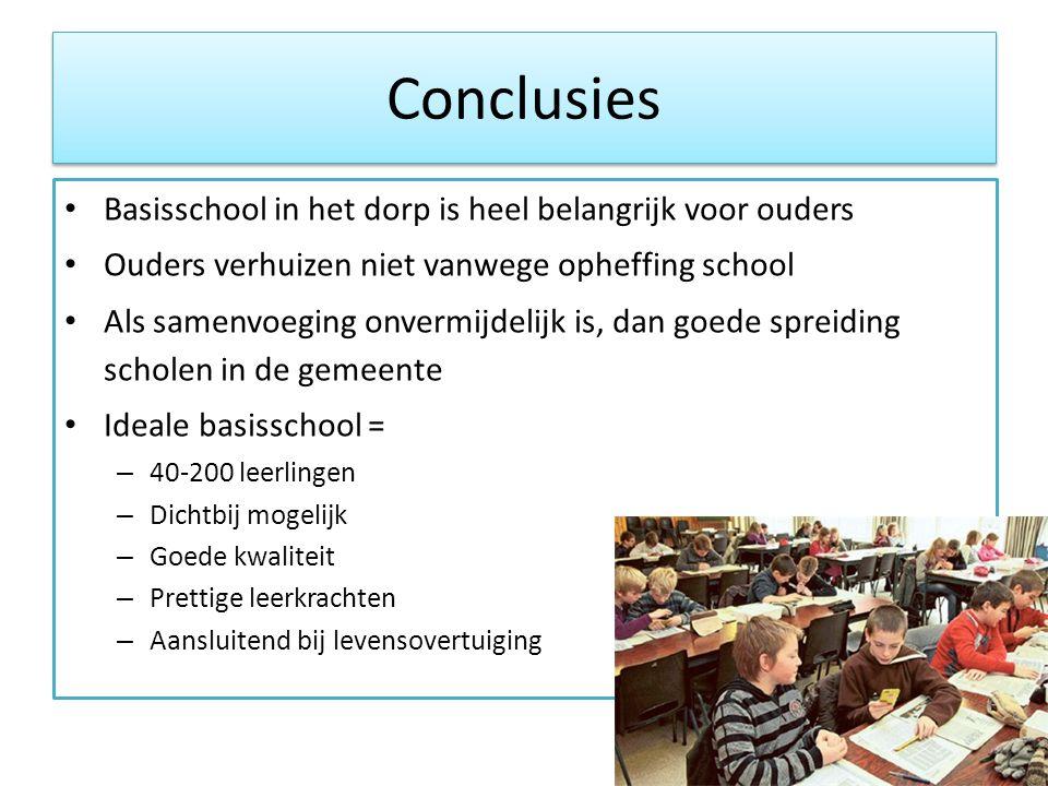 Conclusies • Basisschool in het dorp is heel belangrijk voor ouders • Ouders verhuizen niet vanwege opheffing school • Als samenvoeging onvermijdelijk