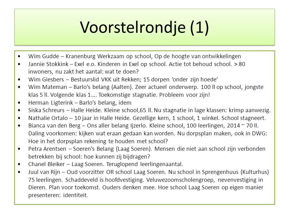 Voorstelrondje (1) •Wim Gudde – Kranenburg Werkzaam op school, Op de hoogte van ontwikkelingen •Jannie Stokkink – Exel e.o.