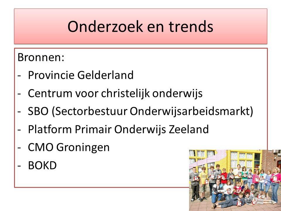 Onderzoek en trends Bronnen: -Provincie Gelderland -Centrum voor christelijk onderwijs -SBO (Sectorbestuur Onderwijsarbeidsmarkt) -Platform Primair Onderwijs Zeeland -CMO Groningen -BOKD