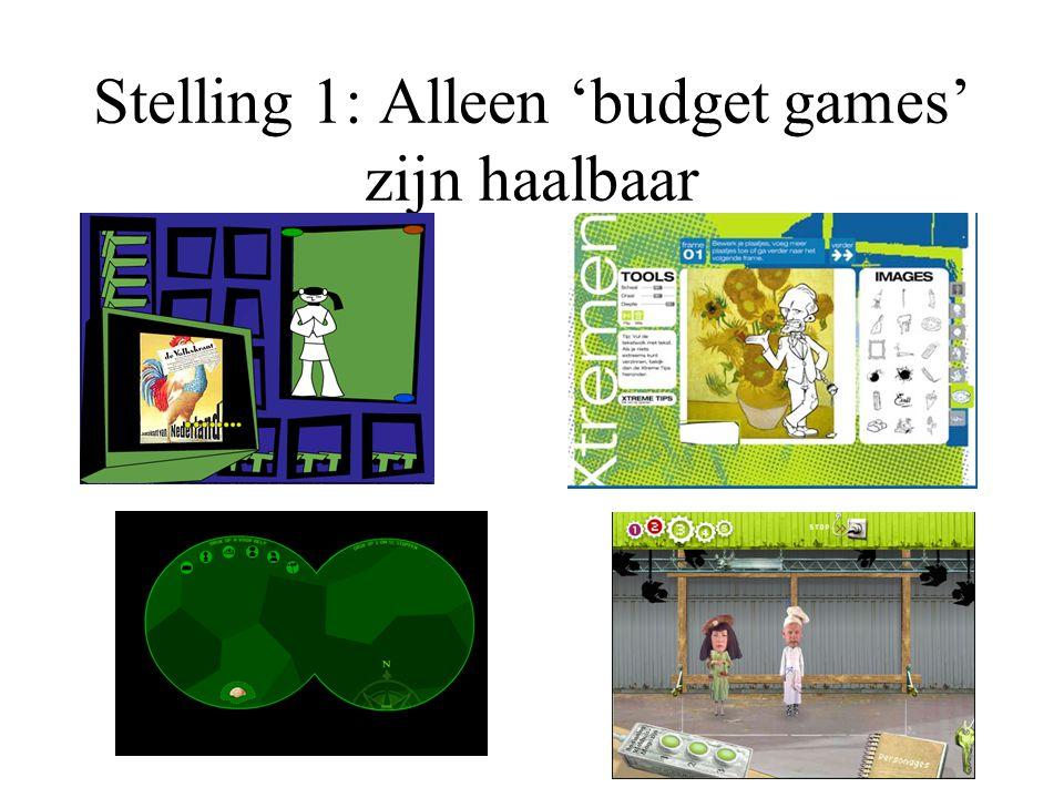 Stelling 1: Alleen 'budget games' zijn haalbaar
