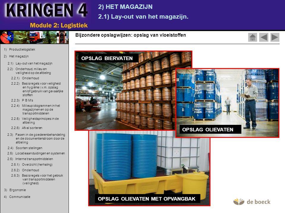 OPSLAG OLIEVATEN MET OPVANGBAK 2) HET MAGAZIJN 2.1) Lay-out van het magazijn. Bijzondere opslagwijzen: opslag van vloeistoffen OPSLAG BIERVATEN OPSLAG