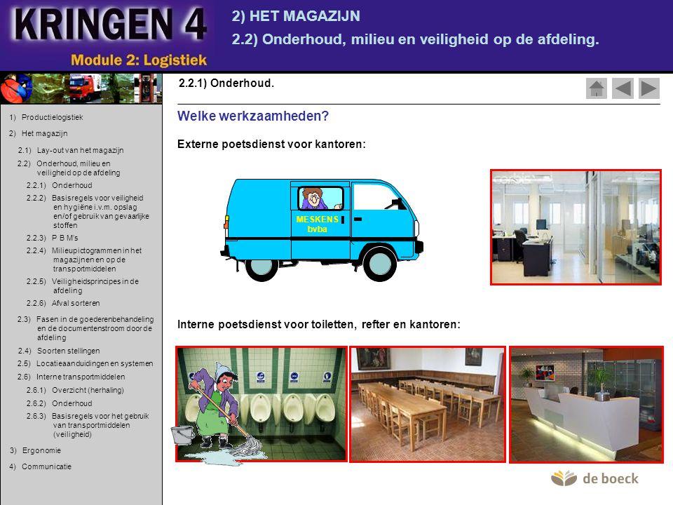 2) HET MAGAZIJN 2.2) Onderhoud, milieu en veiligheid op de afdeling. 2.2.1) Onderhoud. Externe poetsdienst voor kantoren: MESKENS bvba Interne poetsdi