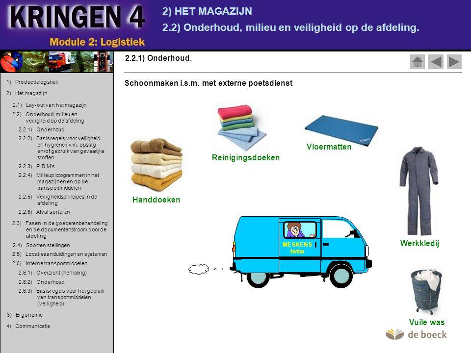 2) HET MAGAZIJN 2.2) Onderhoud, milieu en veiligheid op de afdeling. 2.2.1) Onderhoud. MESKENS bvba Handdoeken Reinigingsdoeken Vloermatten Werkkledij