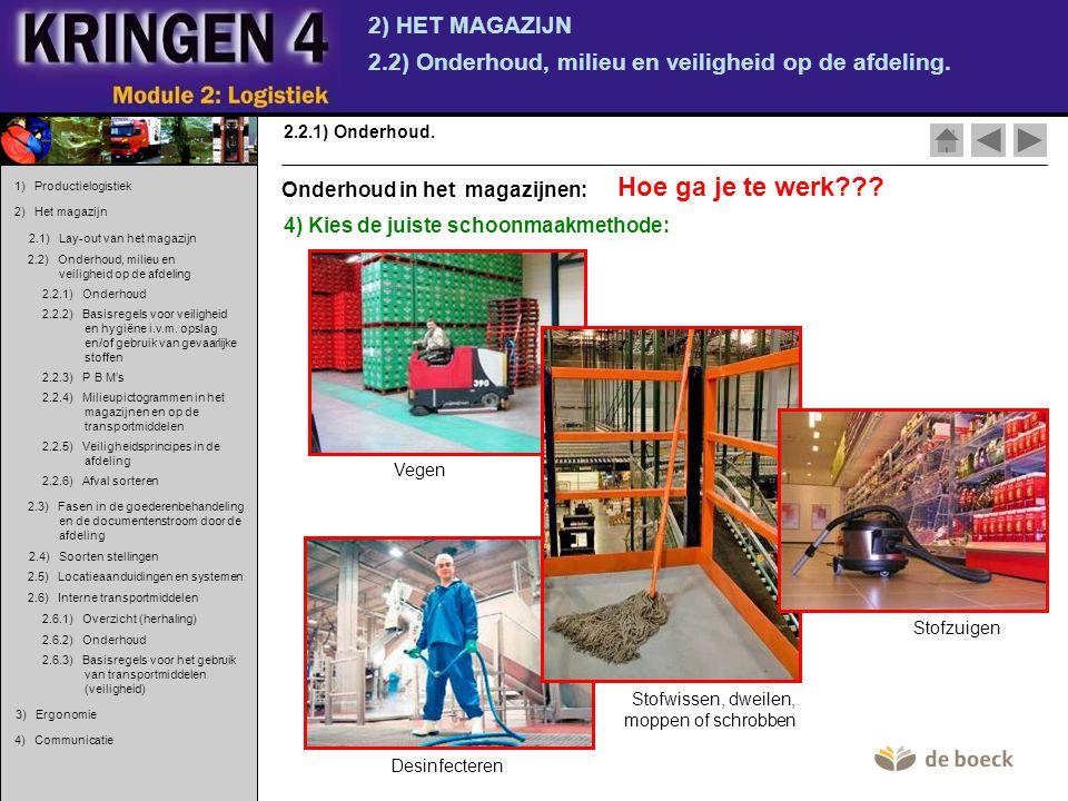 2) HET MAGAZIJN 2.2) Onderhoud, milieu en veiligheid op de afdeling. 2.2.1) Onderhoud. 4) Kies de juiste schoonmaakmethode: Vegen Hoe ga je te werk???