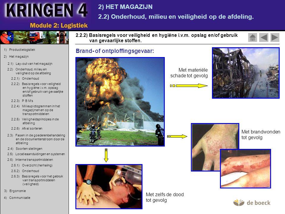 2) HET MAGAZIJN 2.2) Onderhoud, milieu en veiligheid op de afdeling. 2.2.2) Basisregels voor veiligheid en hygiëne i.v.m. opslag en/of gebruik van gev