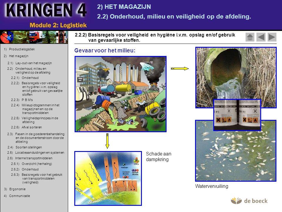 2) HET MAGAZIJN 2.2) Onderhoud, milieu en veiligheid op de afdeling. van gevaarlijke stoffen. 2.2.2) Basisregels voor veiligheid en hygiëne i.v.m. ops