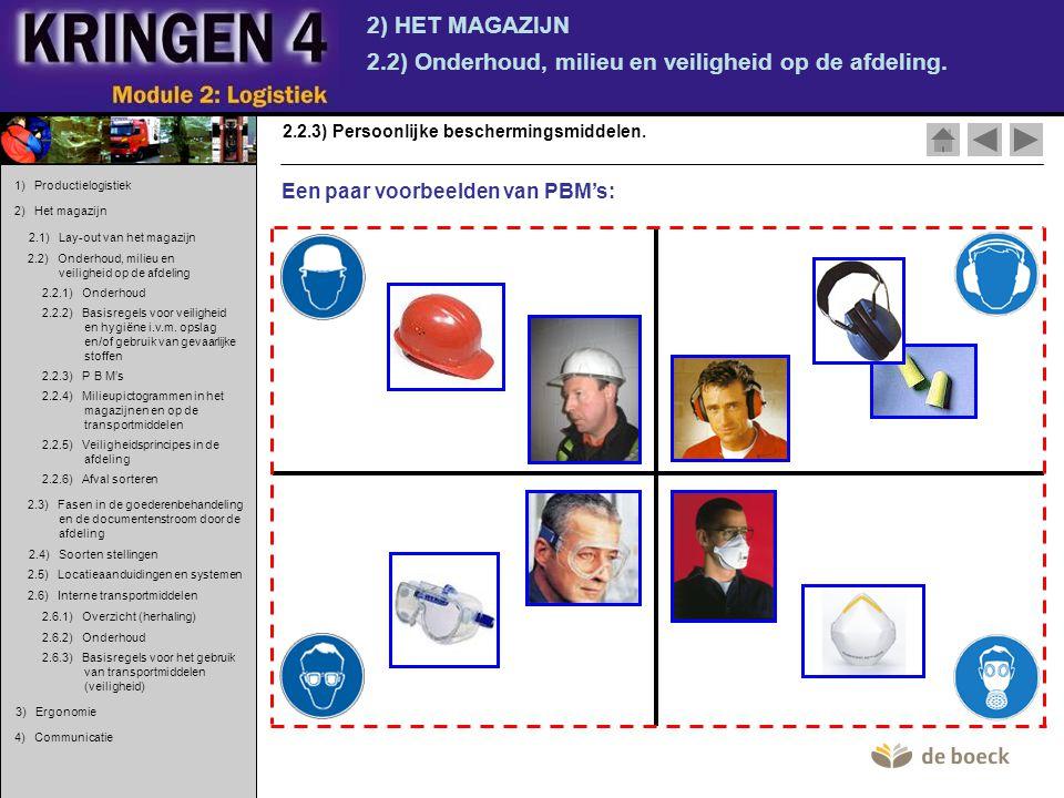 2) HET MAGAZIJN 2.2) Onderhoud, milieu en veiligheid op de afdeling. 2.2.3) Persoonlijke beschermingsmiddelen. Een paar voorbeelden van PBM's: 1) Prod
