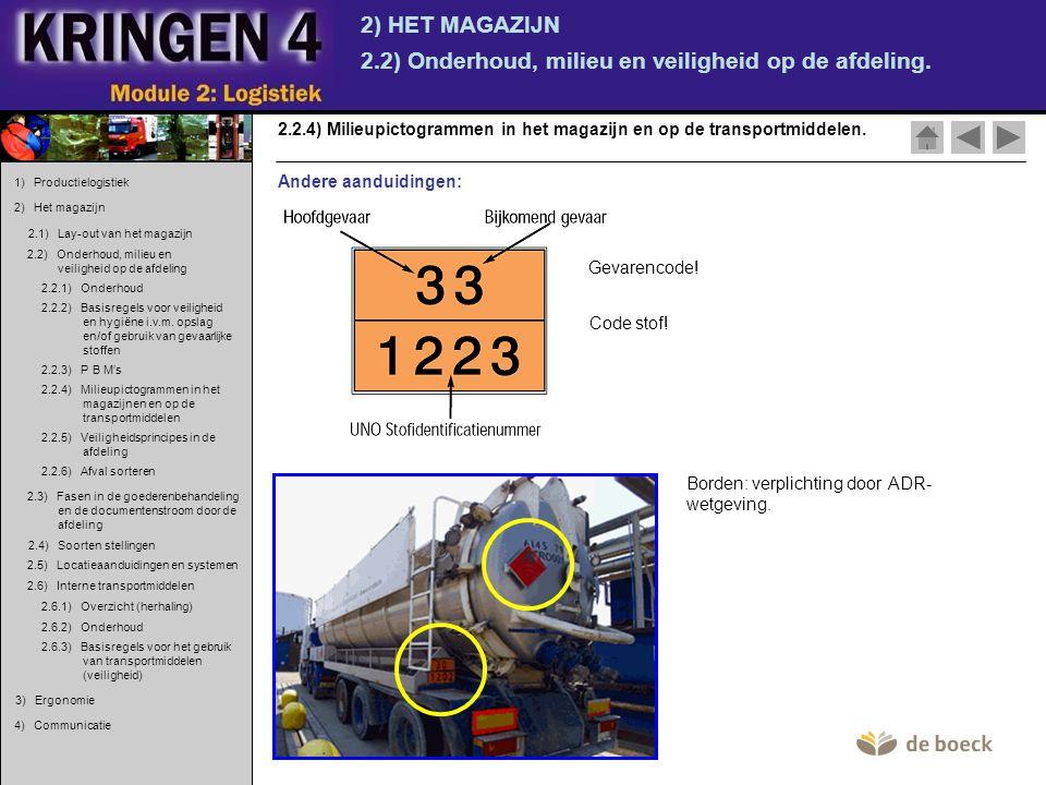 2) HET MAGAZIJN 2.2) Onderhoud, milieu en veiligheid op de afdeling. 2.2.4) Milieupictogrammen in het magazijn en op de transportmiddelen. Andere aand