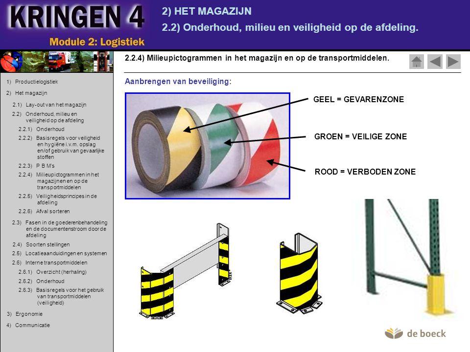 2) HET MAGAZIJN 2.2) Onderhoud, milieu en veiligheid op de afdeling. 2.2.4) Milieupictogrammen in het magazijn en op de transportmiddelen. Aanbrengen