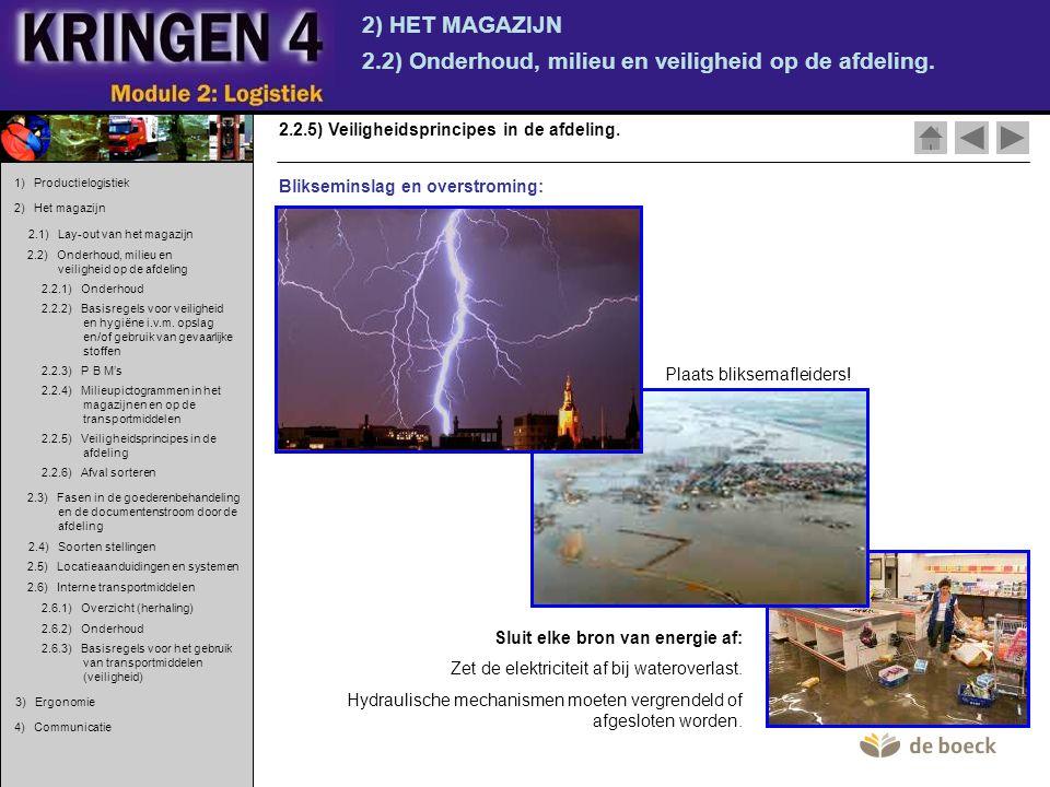 2) HET MAGAZIJN 2.2) Onderhoud, milieu en veiligheid op de afdeling. 2.2.5) Veiligheidsprincipes in de afdeling. Blikseminslag en overstroming: Sluit