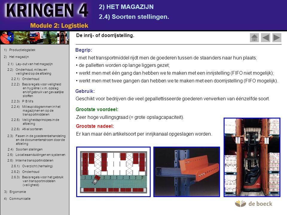 2) HET MAGAZIJN 2.4) Soorten stellingen. De inrij- of doorrijstelling. • met het transportmiddel rijdt men de goederen tussen de staanders naar hun pl