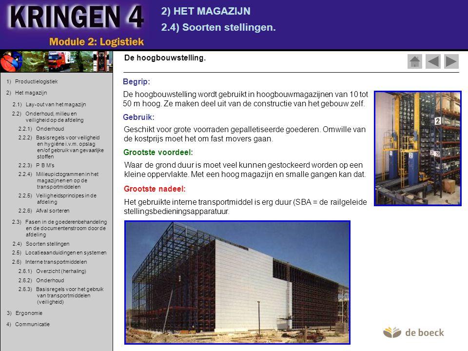 2) HET MAGAZIJN 2.4) Soorten stellingen. De hoogbouwstelling. De hoogbouwstelling wordt gebruikt in hoogbouwmagazijnen van 10 tot 50 m hoog. Ze maken