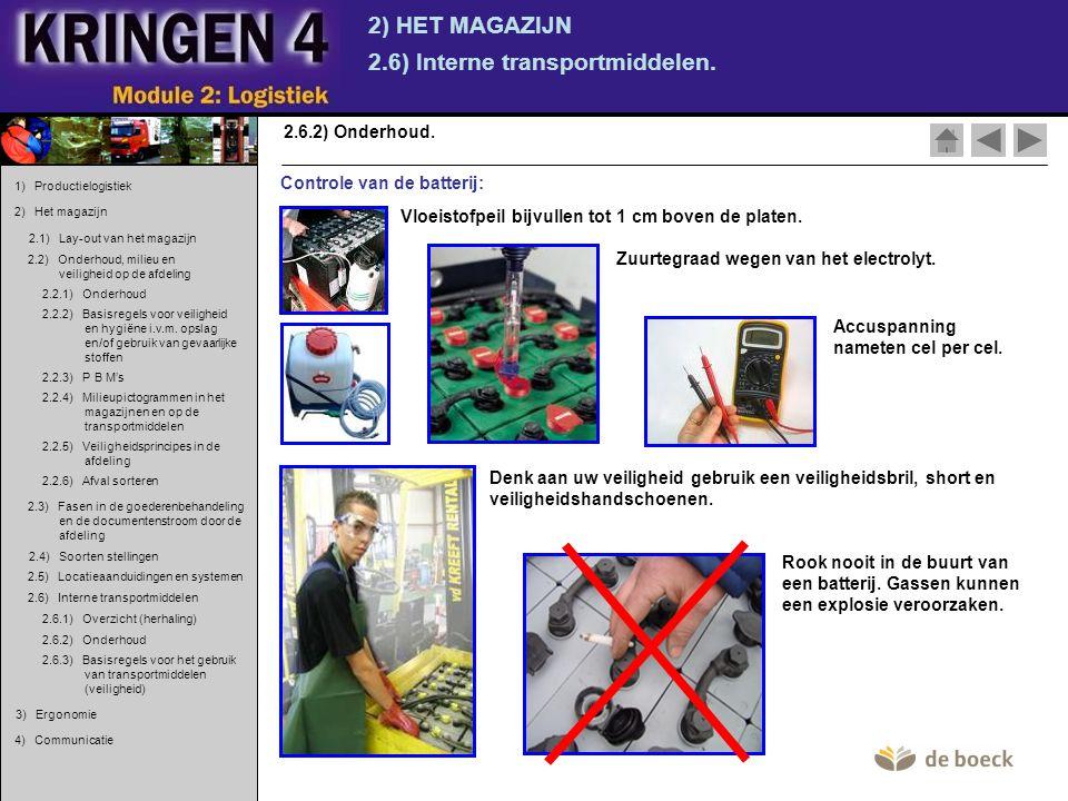 2) HET MAGAZIJN 2.6) Interne transportmiddelen. 2.6.2) Onderhoud. Controle van de batterij: Zuurtegraad wegen van het electrolyt. Denk aan uw veilighe