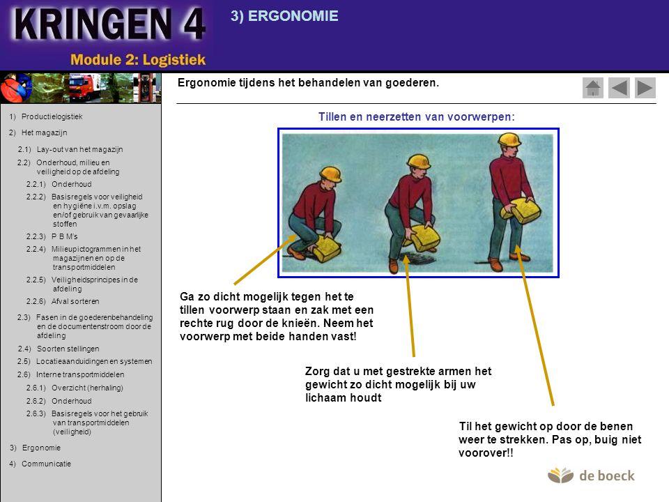 3) ERGONOMIE Ergonomie tijdens het behandelen van goederen. Tillen en neerzetten van voorwerpen: Ga zo dicht mogelijk tegen het te tillen voorwerp sta