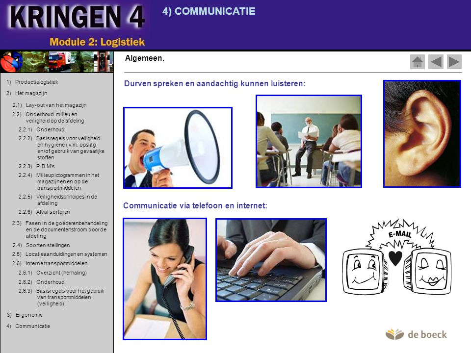 4) COMMUNICATIE Algemeen. Communicatie via telefoon en internet: Durven spreken en aandachtig kunnen luisteren: 1) Productielogistiek 2) Het magazijn