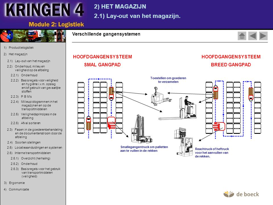 2) HET MAGAZIJN 2.6) Interne transportmiddelen.2.6.2) Onderhoud.