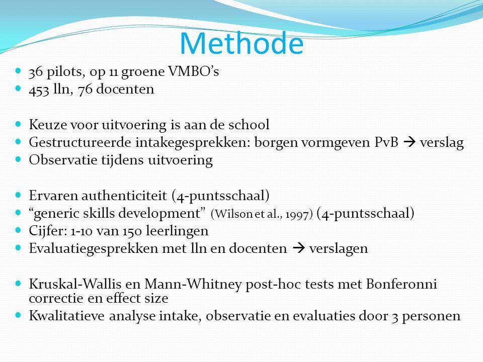 Methode  36 pilots, op 11 groene VMBO's  453 lln, 76 docenten  Keuze voor uitvoering is aan de school  Gestructureerde intakegesprekken: borgen vo