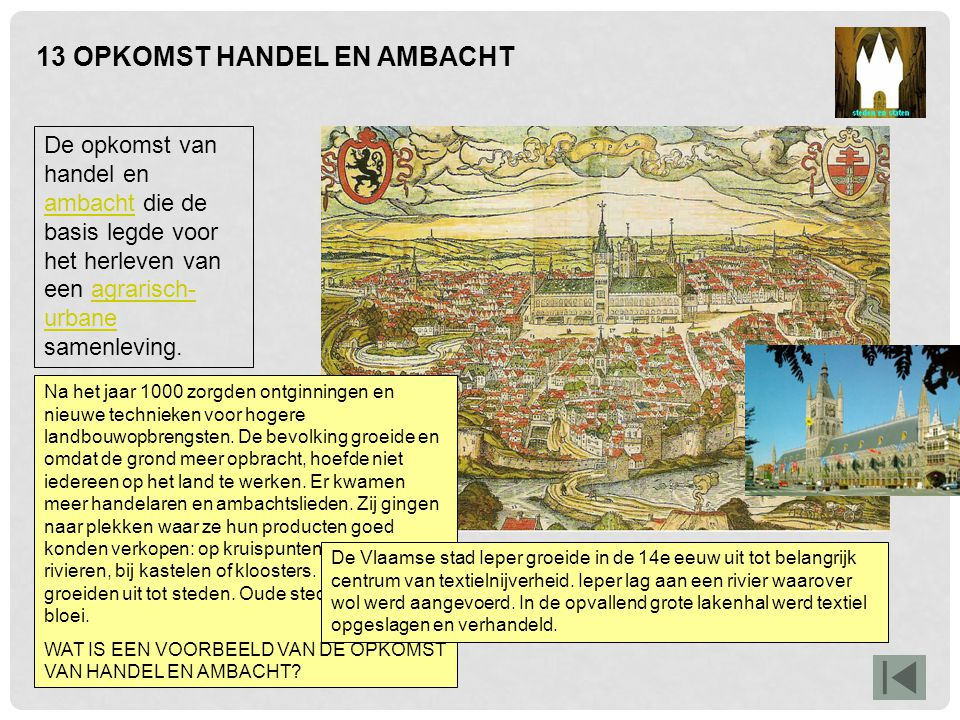 14 STEDEN MET STADSRECHT Opkomst van de stedelijke burgerij en toenemende zelfstandigheid van steden.burgerij De stad Utrecht bijvoorbeeld.