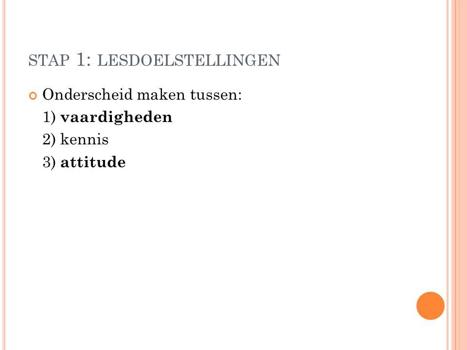 STAP 1: LESDOELSTELLINGEN Onderscheid maken tussen: 1) vaardigheden 2) kennis 3) attitude
