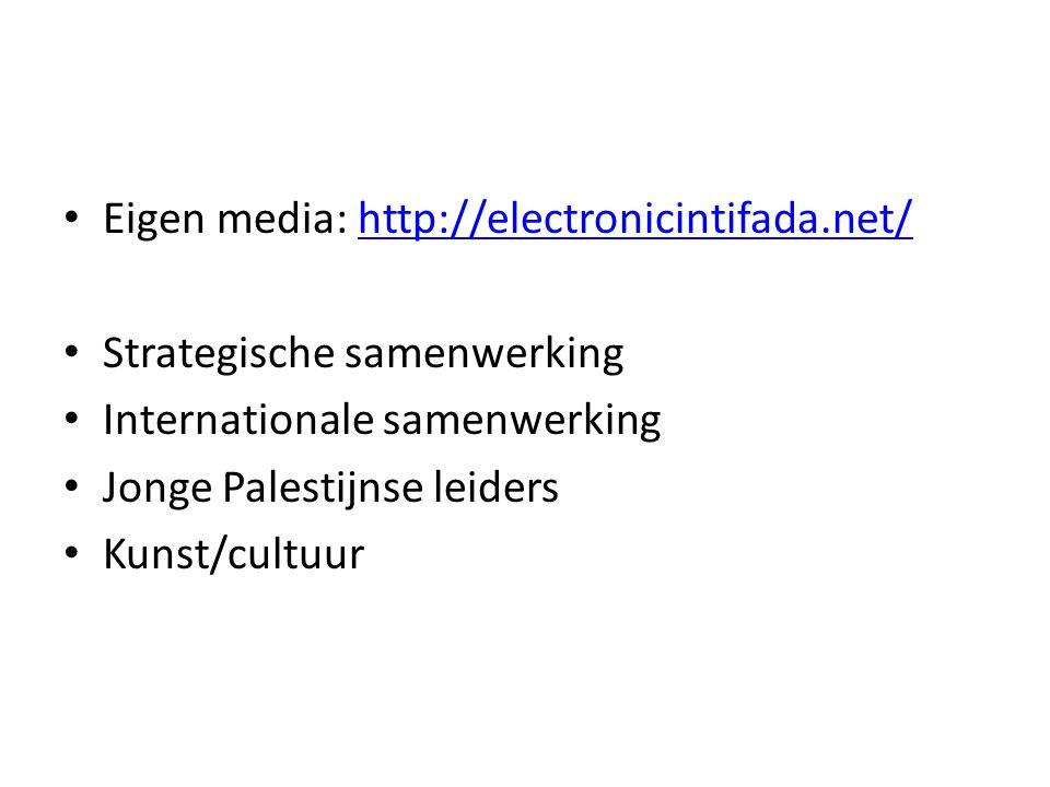 • Eigen media: http://electronicintifada.net/http://electronicintifada.net/ • Strategische samenwerking • Internationale samenwerking • Jonge Palestij