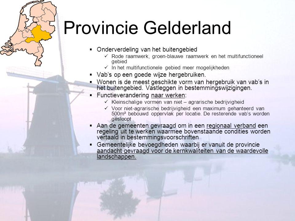 Provincie Gelderland  Onderverdeling van het buitengebied  Rode raamwerk, groen-blauwe raamwerk en het multifunctioneel gebied  In het multifunctio