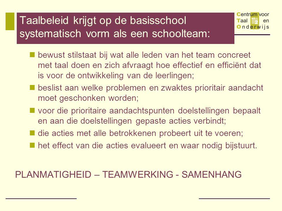 Taalbeleid krijgt op de basisschool systematisch vorm als een schoolteam:  bewust stilstaat bij wat alle leden van het team concreet met taal doen en zich afvraagt hoe effectief en efficiënt dat is voor de ontwikkeling van de leerlingen;  beslist aan welke problemen en zwaktes prioritair aandacht moet geschonken worden;  voor die prioritaire aandachtspunten doelstellingen bepaalt en aan die doelstellingen gepaste acties verbindt;  die acties met alle betrokkenen probeert uit te voeren;  het effect van die acties evalueert en waar nodig bijstuurt.