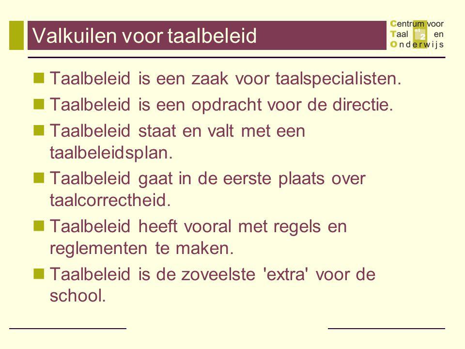 Valkuilen voor taalbeleid  Taalbeleid is een zaak voor taalspecialisten.