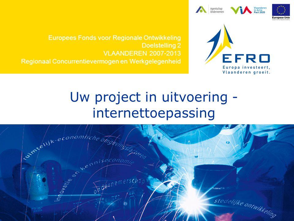Europees Fonds voor Regionale Ontwikkeling Doelstelling 2 VLAANDEREN 2007-2013 Regionaal Concurrentievermogen en Werkgelegenheid Uw project in uitvoering - internettoepassing