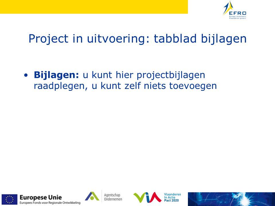 Project in uitvoering: tabblad bijlagen •Bijlagen: u kunt hier projectbijlagen raadplegen, u kunt zelf niets toevoegen