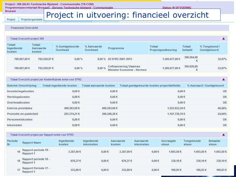 Project in uitvoering: financieel overzicht
