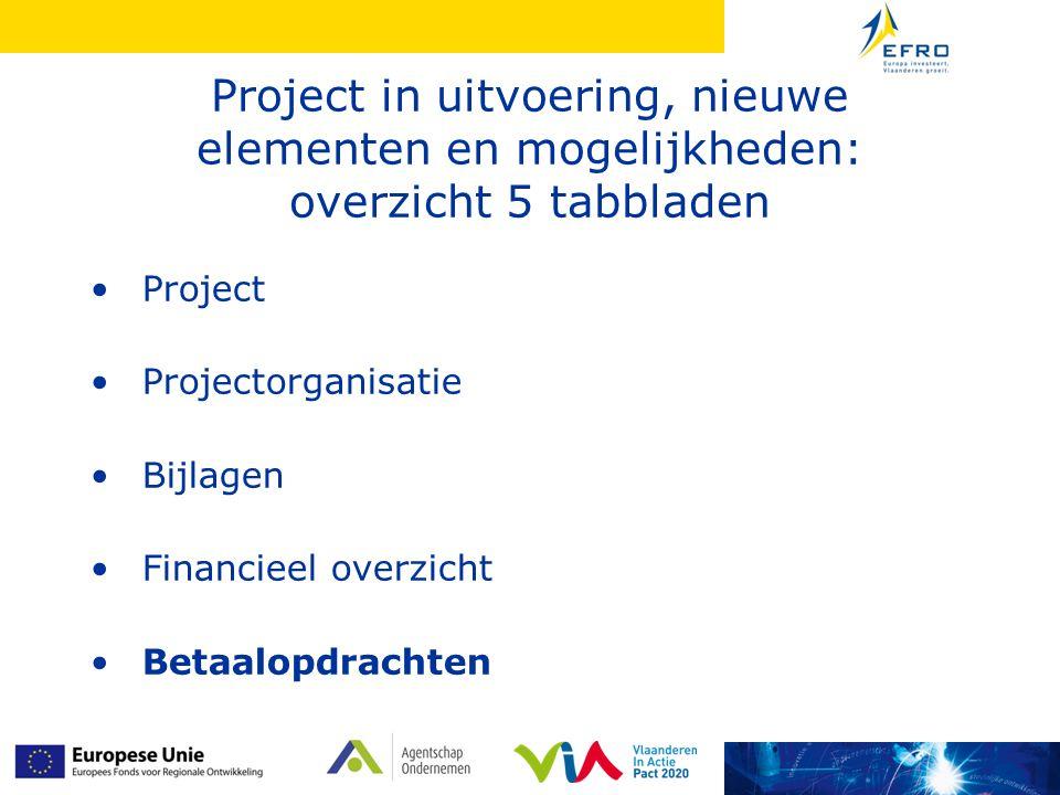 Project in uitvoering, nieuwe elementen en mogelijkheden: overzicht 5 tabbladen • Project • Projectorganisatie • Bijlagen • Financieel overzicht • Betaalopdrachten