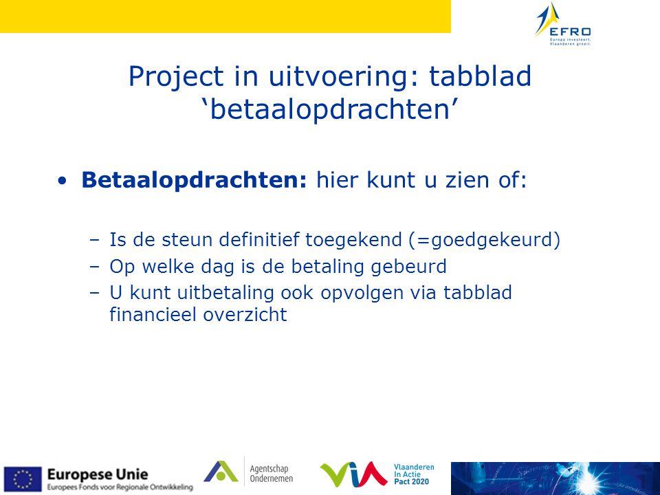 Project in uitvoering: tabblad 'betaalopdrachten' •Betaalopdrachten: hier kunt u zien of: –Is de steun definitief toegekend (=goedgekeurd) –Op welke dag is de betaling gebeurd –U kunt uitbetaling ook opvolgen via tabblad financieel overzicht