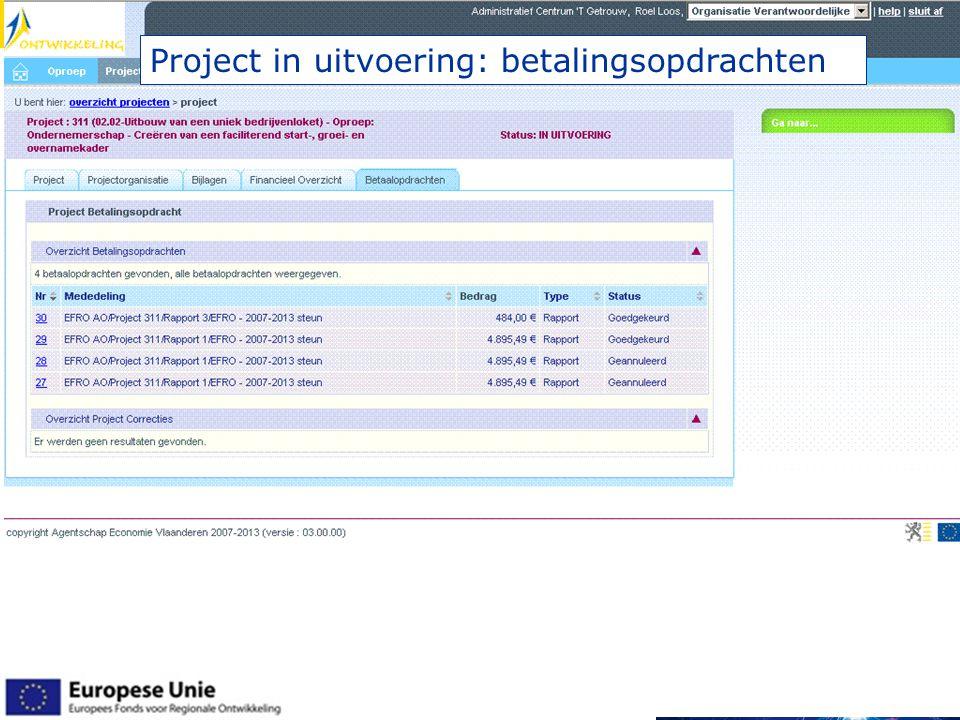 Project in uitvoering: betalingsopdrachten