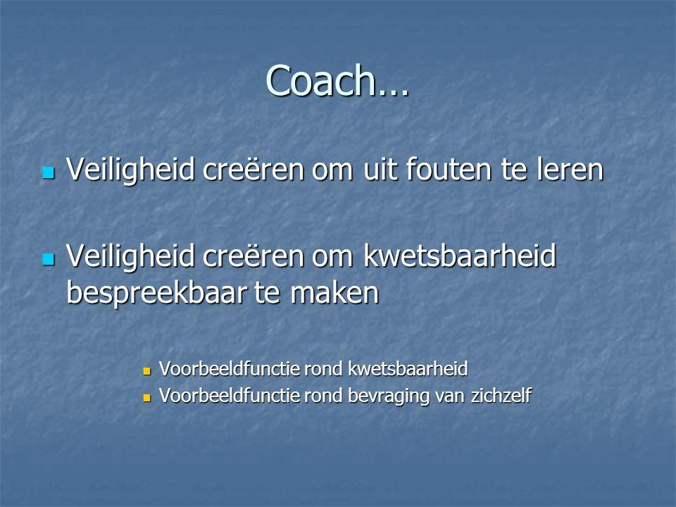 Coach…  Veiligheid creëren om uit fouten te leren  Veiligheid creëren om kwetsbaarheid bespreekbaar te maken  Voorbeeldfunctie rond kwetsbaarheid  Voorbeeldfunctie rond bevraging van zichzelf