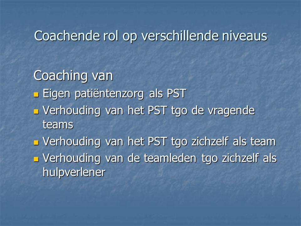 Coachende rol op verschillende niveaus Coaching van Coaching van  Eigen patiëntenzorg als PST  Verhouding van het PST tgo de vragende teams  Verhouding van het PST tgo zichzelf als team  Verhouding van de teamleden tgo zichzelf als hulpverlener