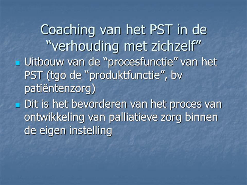 Coaching van het PST in de verhouding met zichzelf  Uitbouw van de procesfunctie van het PST (tgo de produktfunctie , bv patiëntenzorg)  Dit is het bevorderen van het proces van ontwikkeling van palliatieve zorg binnen de eigen instelling