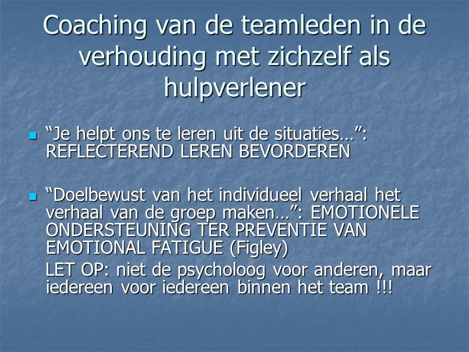 Coaching van de teamleden in de verhouding met zichzelf als hulpverlener  Je helpt ons te leren uit de situaties… : REFLECTEREND LEREN BEVORDEREN  Doelbewust van het individueel verhaal het verhaal van de groep maken… : EMOTIONELE ONDERSTEUNING TER PREVENTIE VAN EMOTIONAL FATIGUE (Figley) LET OP: niet de psycholoog voor anderen, maar iedereen voor iedereen binnen het team !!.