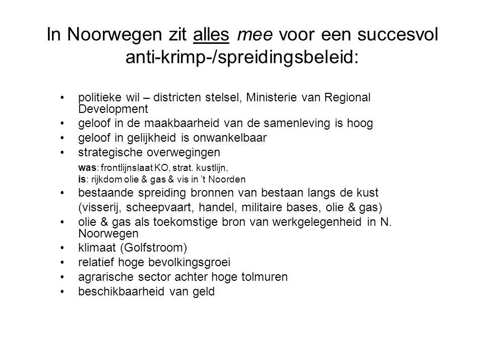 In Noorwegen zit alles mee voor een succesvol anti-krimp-/spreidingsbeleid: •politieke wil – districten stelsel, Ministerie van Regional Development •